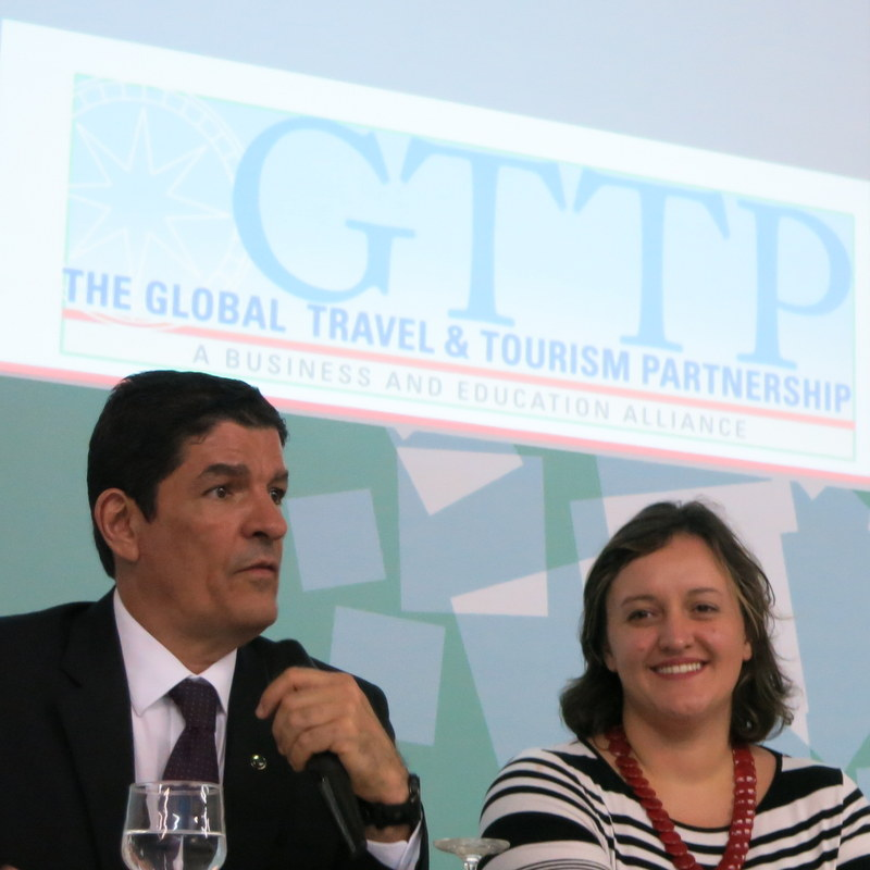 Vinicius Lages (Minister of Tourism) and Mariana Aldrigui (GTTP Brazil) talking about the need for better educated tourism professionals