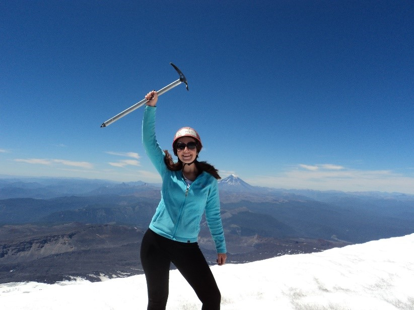 Gemma at the top of the Villarrica volcano, Chile.