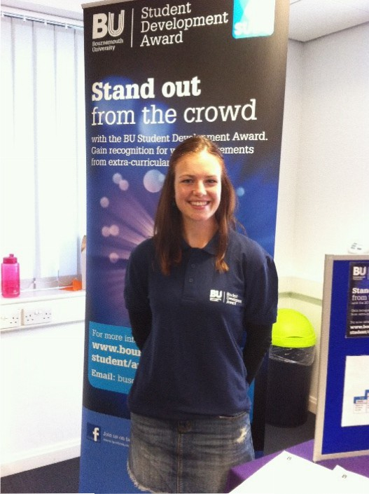 Gemma volunteering on an Open Day at the University of Bournemouth, 2015.