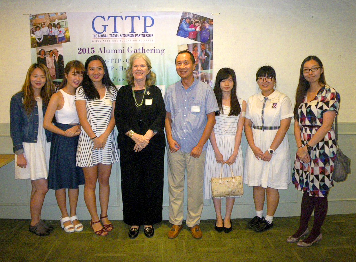 At the Asia/China 2015 Alumni Gathering, Katie (on the right) meets up with fellow former GTTP students as well as Dr Nancy Needham, GTTP Executive Director (4th from right) and secondary Tourism and Hospitality teacher Crishner Lam (4th from left)